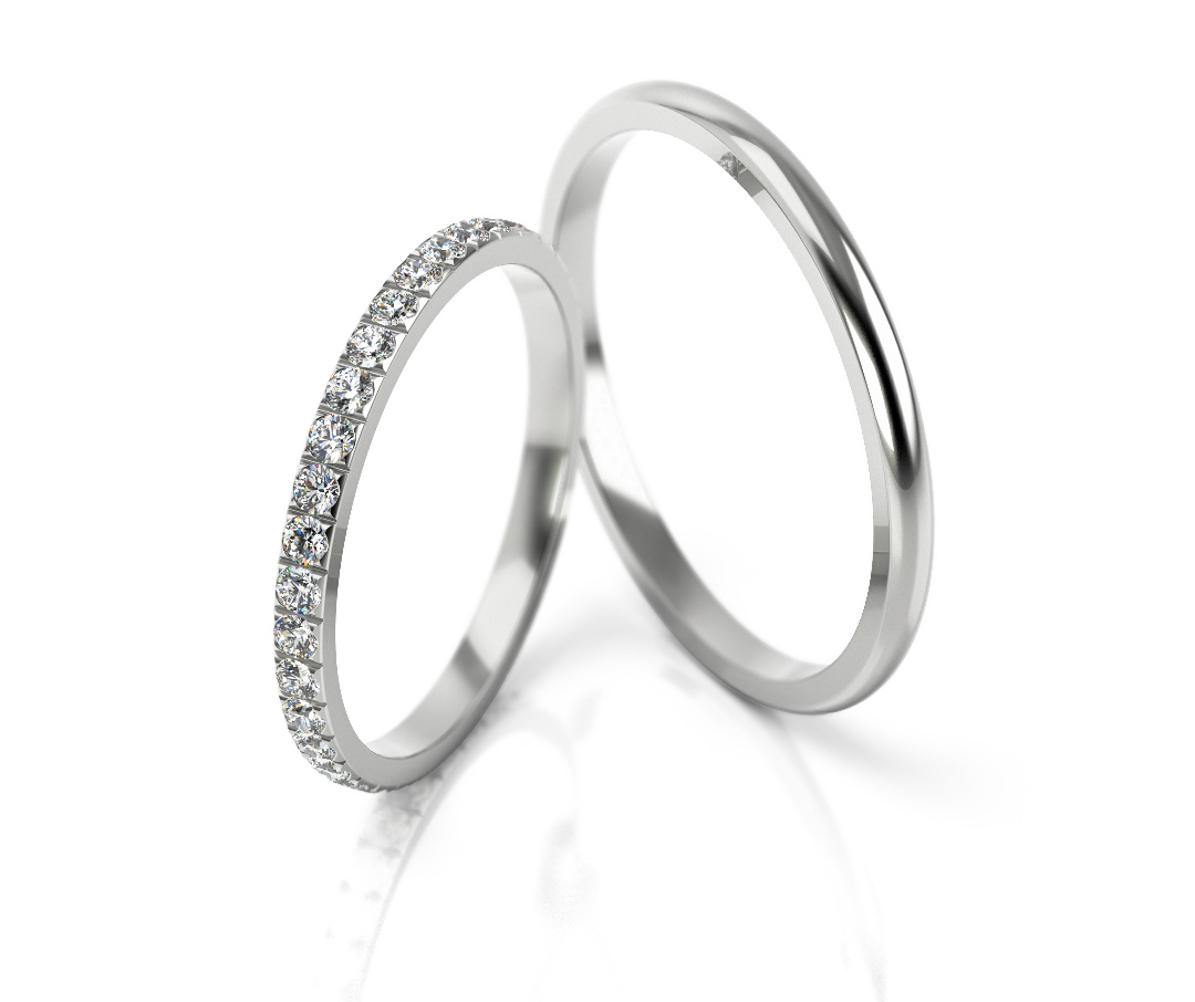 Brilliant! 37 x 0,015 ct Price for one pair! Wedding rings White gold ...